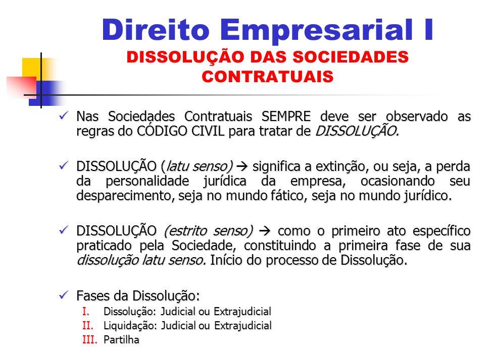 Nas Sociedades Contratuais SEMPRE deve ser observado as regras do CÓDIGO CIVIL para tratar de DISSOLUÇÃO.