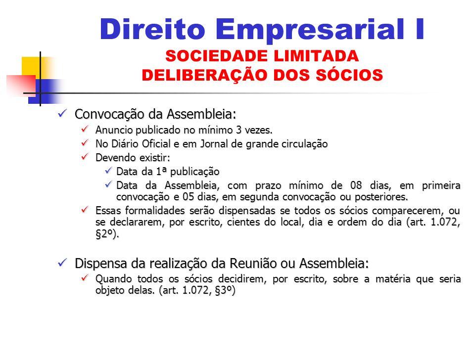 Convocação da Assembleia: Convocação da Assembleia: Anuncio publicado no mínimo 3 vezes.