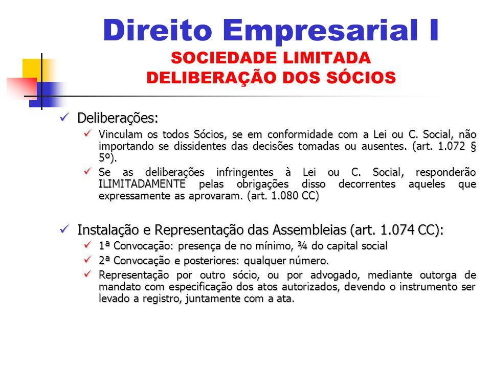 Deliberações: Deliberações: Vinculam os todos Sócios, se em conformidade com a Lei ou C.