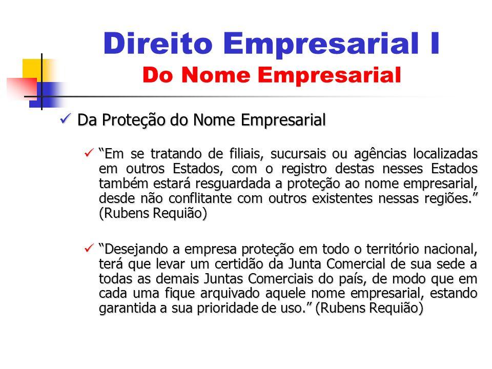 Da Proteção do Nome Empresarial Da Proteção do Nome Empresarial Em se tratando de filiais, sucursais ou agências localizadas em outros Estados, com o