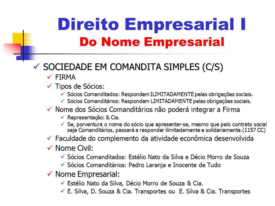 SOCIEDADE EM COMANDITA SIMPLES (C/S) SOCIEDADE EM COMANDITA SIMPLES (C/S) FIRMA FIRMA Tipos de Sócios: Tipos de Sócios: Sócios Comanditados: Respondem