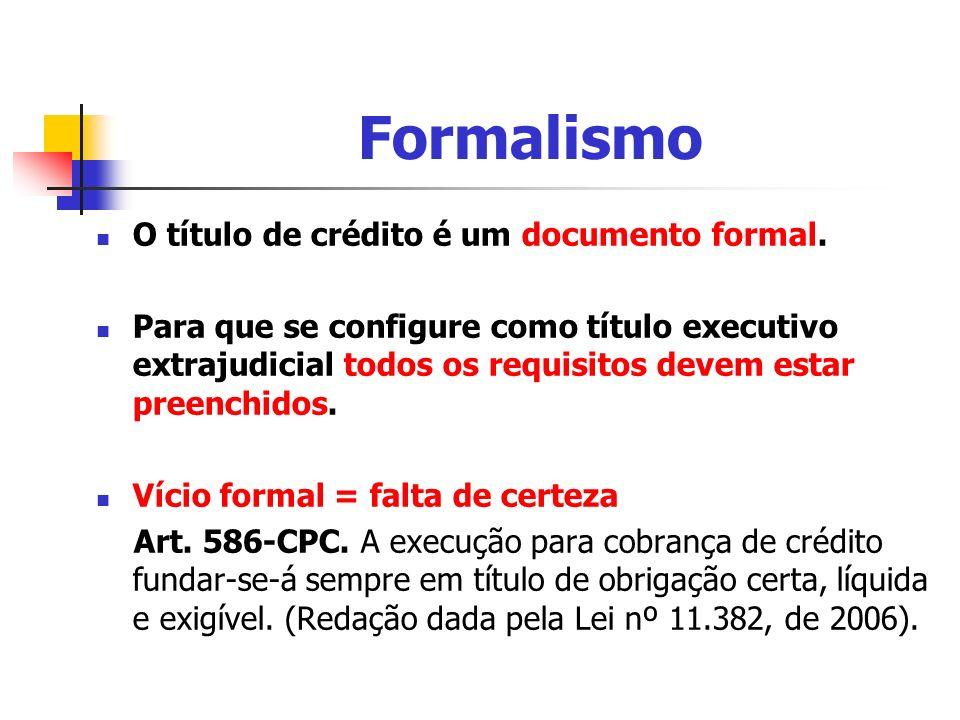 Formalismo O título de crédito é um documento formal. Para que se configure como título executivo extrajudicial todos os requisitos devem estar preenc