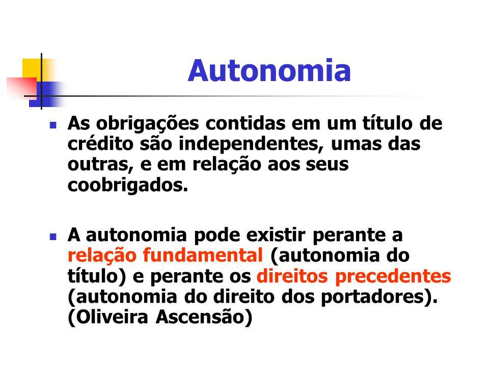 Autonomia As obrigações contidas em um título de crédito são independentes, umas das outras, e em relação aos seus coobrigados. A autonomia pode exist