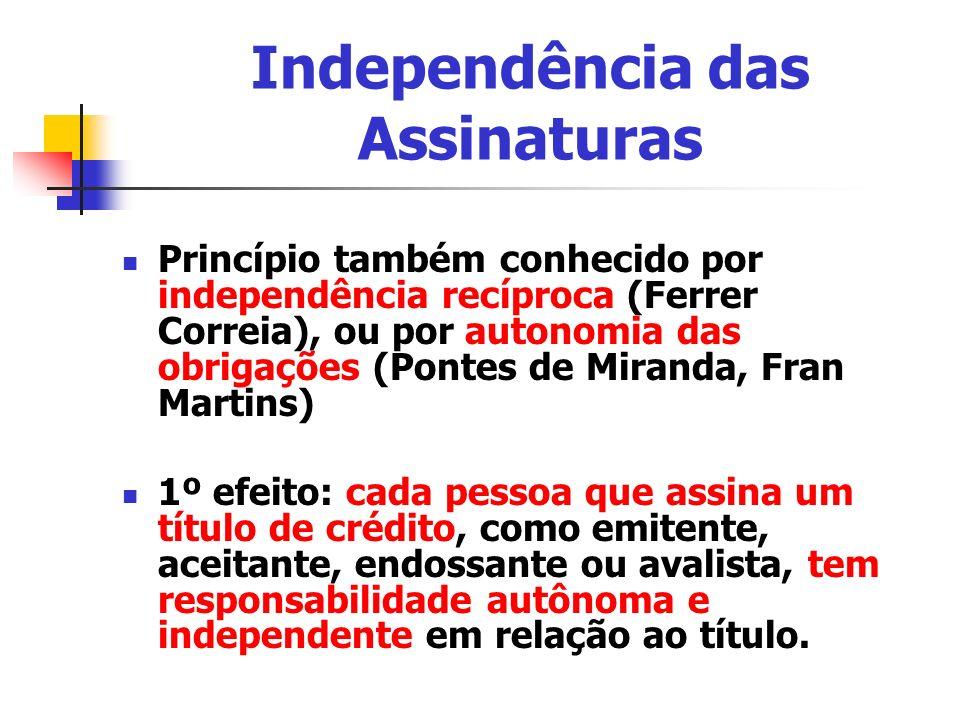 Independência das Assinaturas Princípio também conhecido por independência recíproca (Ferrer Correia), ou por autonomia das obrigações (Pontes de Mira