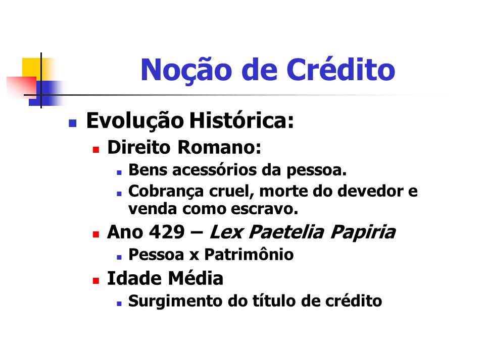 Noção de Crédito Evolução Histórica: Direito Romano: Bens acessórios da pessoa. Cobrança cruel, morte do devedor e venda como escravo. Ano 429 – Lex P