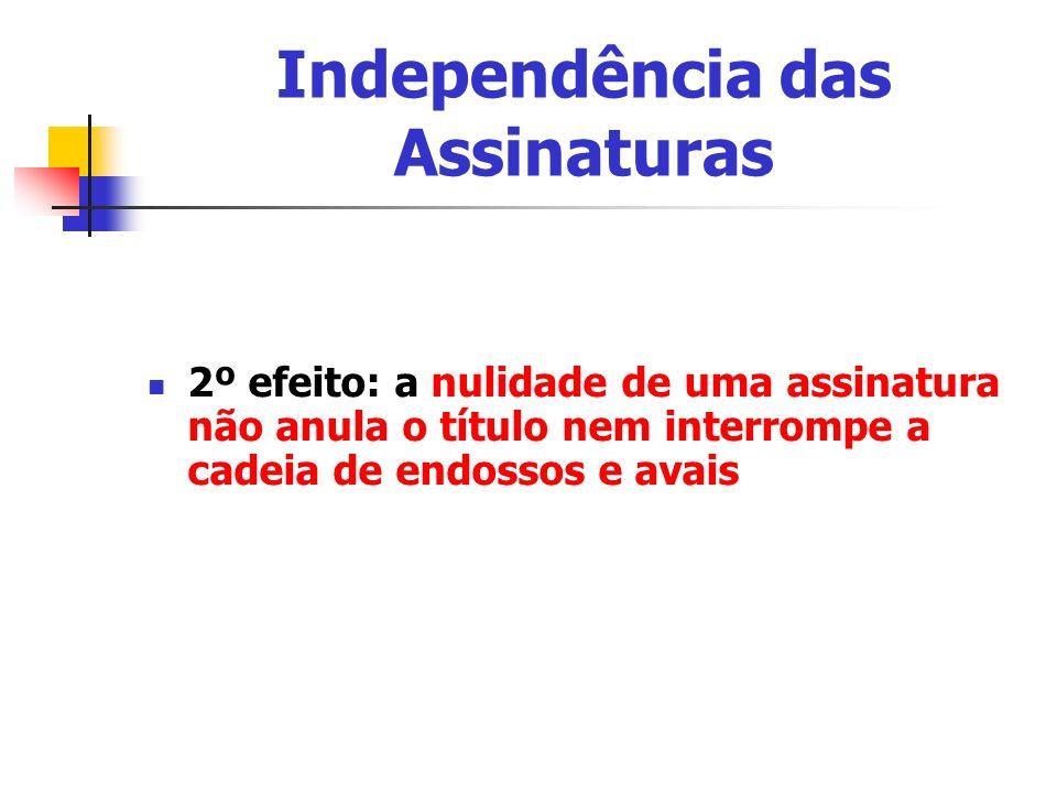 Independência das Assinaturas 2º efeito: a nulidade de uma assinatura não anula o título nem interrompe a cadeia de endossos e avais