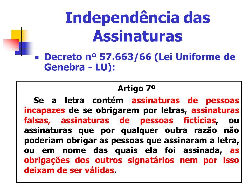 Independência das Assinaturas Decreto nº 57.663/66 (Lei Uniforme de Genebra - LU): Artigo 7º Se a letra contém assinaturas de pessoas incapazes de se