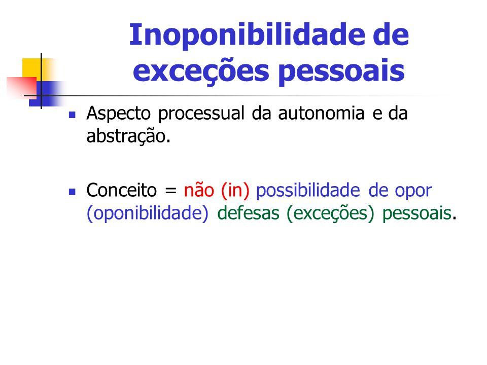 Inoponibilidade de exceções pessoais Aspecto processual da autonomia e da abstração. Conceito = não (in) possibilidade de opor (oponibilidade) defesas