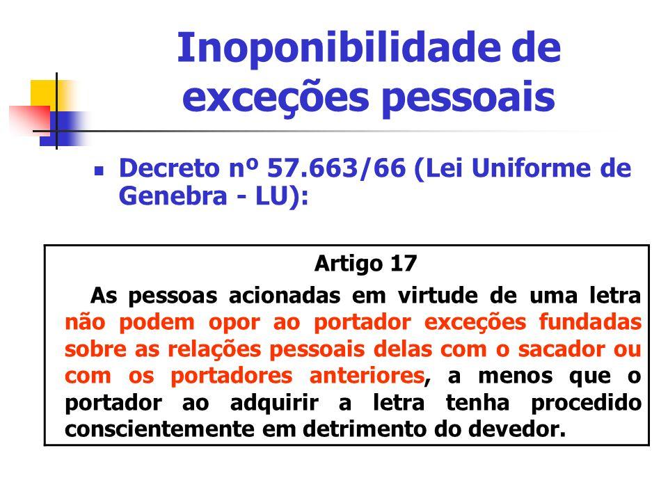 Inoponibilidade de exceções pessoais Decreto nº 57.663/66 (Lei Uniforme de Genebra - LU): Artigo 17 As pessoas acionadas em virtude de uma letra não p