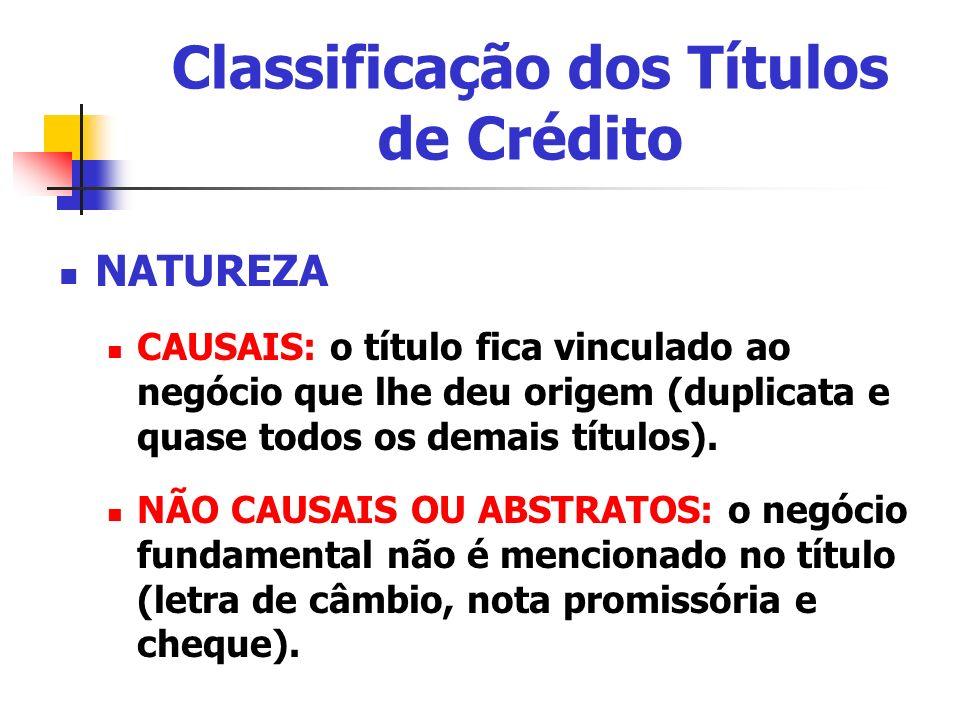 Classificação dos Títulos de Crédito NATUREZA CAUSAIS: o título fica vinculado ao negócio que lhe deu origem (duplicata e quase todos os demais título