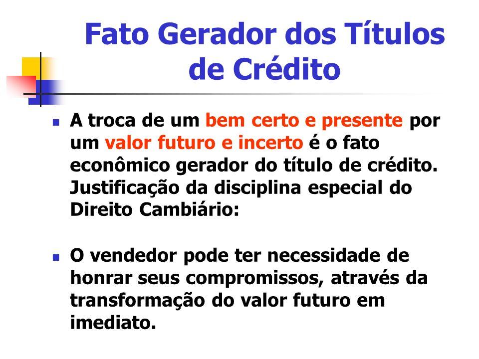 A troca de um bem certo e presente por um valor futuro e incerto é o fato econômico gerador do título de crédito. Justificação da disciplina especial