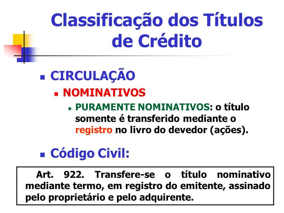 Classificação dos Títulos de Crédito CIRCULAÇÃO NOMINATIVOS PURAMENTE NOMINATIVOS: o título somente é transferido mediante o registro no livro do deve