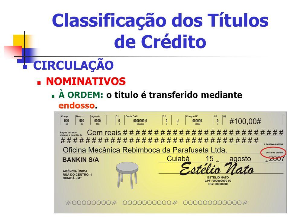 Classificação dos Títulos de Crédito CIRCULAÇÃO NOMINATIVOS À ORDEM: o título é transferido mediante endosso.