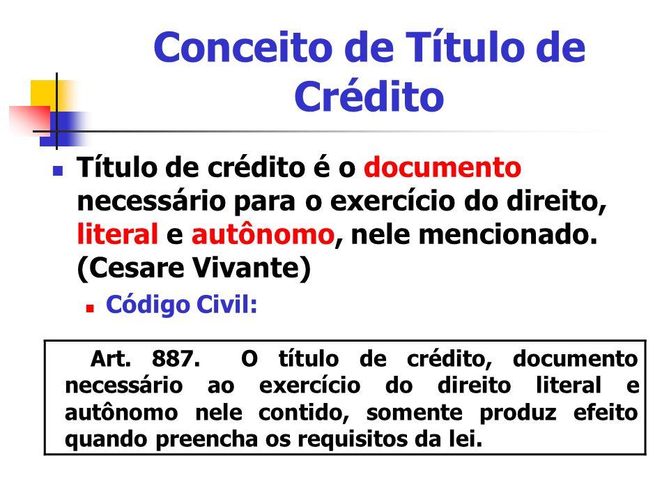 Conceito de Título de Crédito Título de crédito é o documento necessário para o exercício do direito, literal e autônomo, nele mencionado. (Cesare Viv