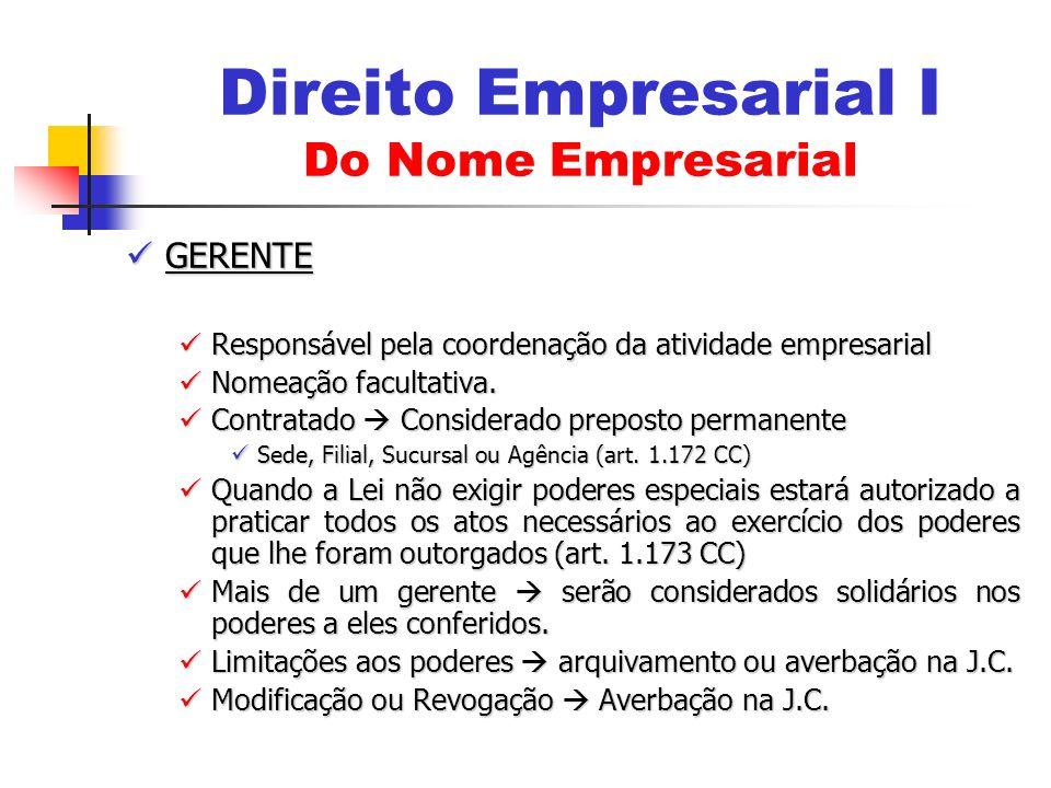 GERENTE GERENTE Responsável pela coordenação da atividade empresarial Responsável pela coordenação da atividade empresarial Nomeação facultativa. Nome