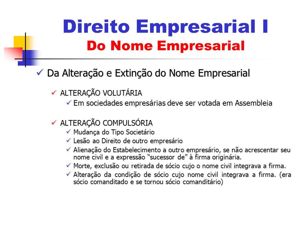 Da Alteração e Extinção do Nome Empresarial Da Alteração e Extinção do Nome Empresarial ALTERAÇÃO VOLUTÁRIA ALTERAÇÃO VOLUTÁRIA Em sociedades empresár