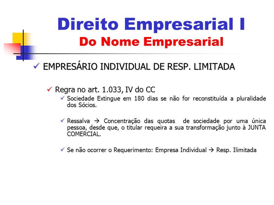 EMPRESÁRIO INDIVIDUAL DE RESP. LIMITADA EMPRESÁRIO INDIVIDUAL DE RESP. LIMITADA Regra no art. 1.033, IV do CC Regra no art. 1.033, IV do CC Sociedade