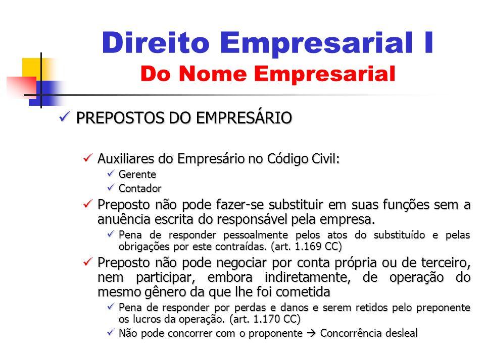 PREPOSTOS DO EMPRESÁRIO PREPOSTOS DO EMPRESÁRIO Auxiliares do Empresário no Código Civil: Auxiliares do Empresário no Código Civil: Gerente Gerente Co