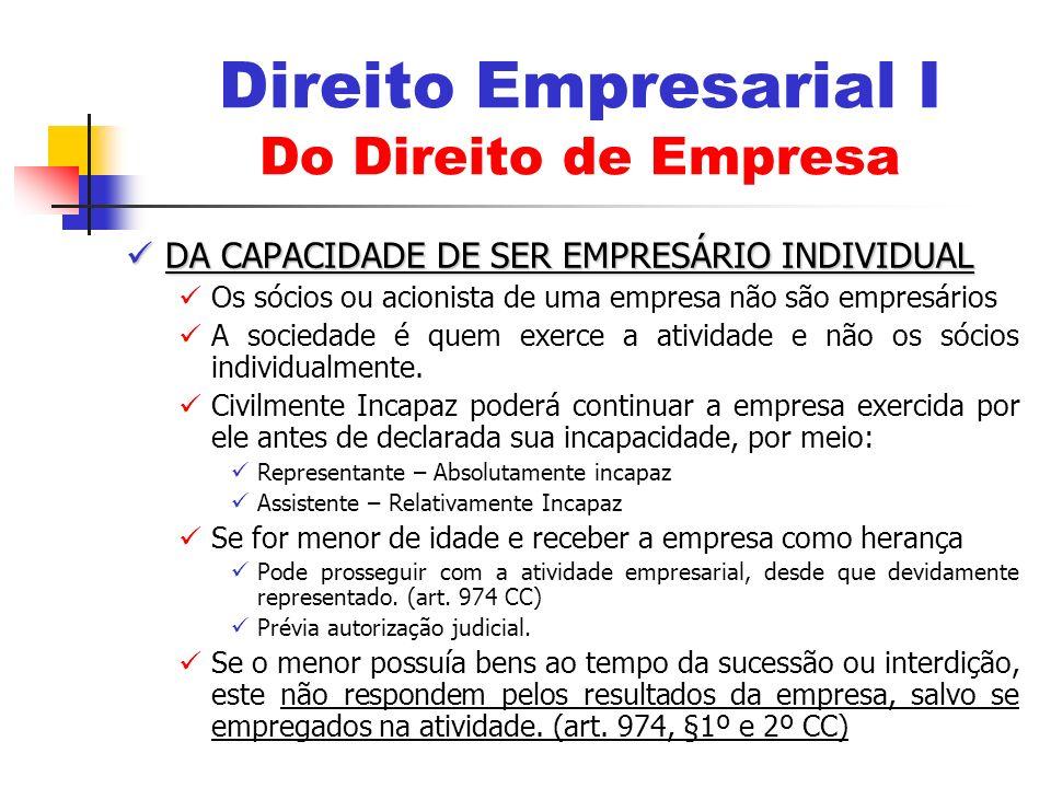 DA CAPACIDADE DE SER EMPRESÁRIO INDIVIDUAL DA CAPACIDADE DE SER EMPRESÁRIO INDIVIDUAL Os sócios ou acionista de uma empresa não são empresários A soci
