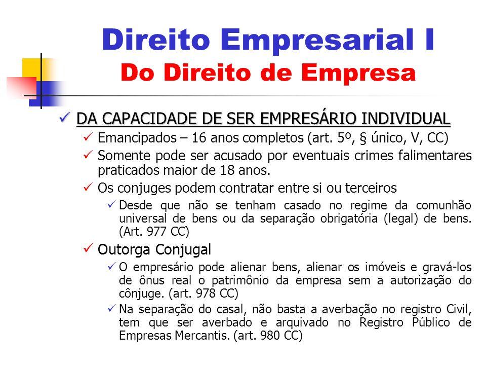 DA CAPACIDADE DE SER EMPRESÁRIO INDIVIDUAL DA CAPACIDADE DE SER EMPRESÁRIO INDIVIDUAL Emancipados – 16 anos completos (art. 5º, § único, V, CC) Soment
