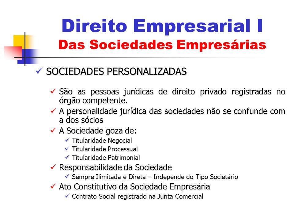 SOCIEDADES PERSONALIZADAS SOCIEDADES PERSONALIZADAS São as pessoas jurídicas de direito privado registradas no órgão competente. São as pessoas jurídi