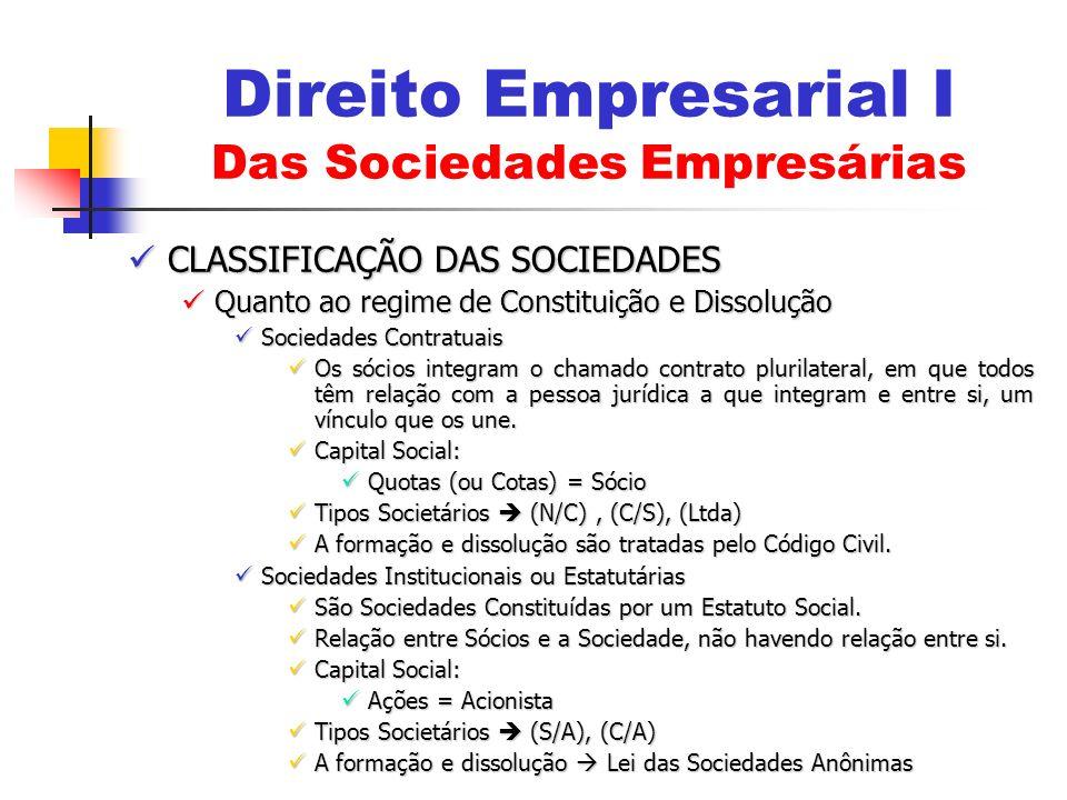 CLASSIFICAÇÃO DAS SOCIEDADES CLASSIFICAÇÃO DAS SOCIEDADES Quanto ao regime de Constituição e Dissolução Quanto ao regime de Constituição e Dissolução