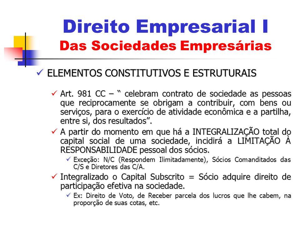 ELEMENTOS CONSTITUTIVOS E ESTRUTURAIS ELEMENTOS CONSTITUTIVOS E ESTRUTURAIS Art. 981 CC – celebram contrato de sociedade as pessoas que reciprocamente