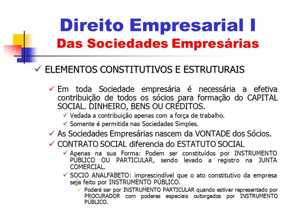 ELEMENTOS CONSTITUTIVOS E ESTRUTURAIS ELEMENTOS CONSTITUTIVOS E ESTRUTURAIS Em toda Sociedade empresária é necessária a efetiva contribuição de todos