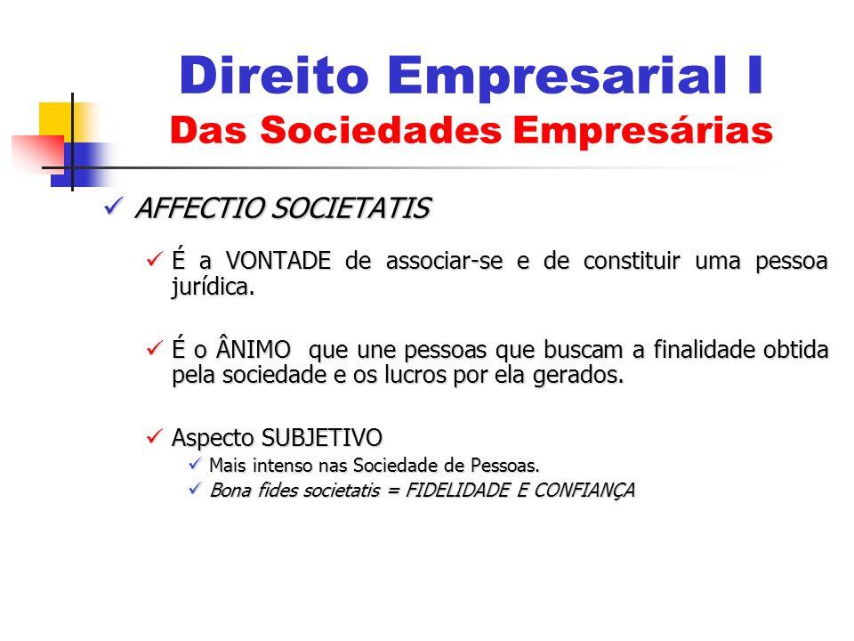 AFFECTIO SOCIETATIS AFFECTIO SOCIETATIS É a VONTADE de associar-se e de constituir uma pessoa jurídica. É a VONTADE de associar-se e de constituir uma