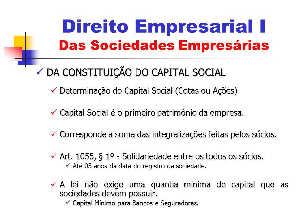 DA CONSTITUIÇÃO DO CAPITAL SOCIAL DA CONSTITUIÇÃO DO CAPITAL SOCIAL Determinação do Capital Social (Cotas ou Ações) Determinação do Capital Social (Co
