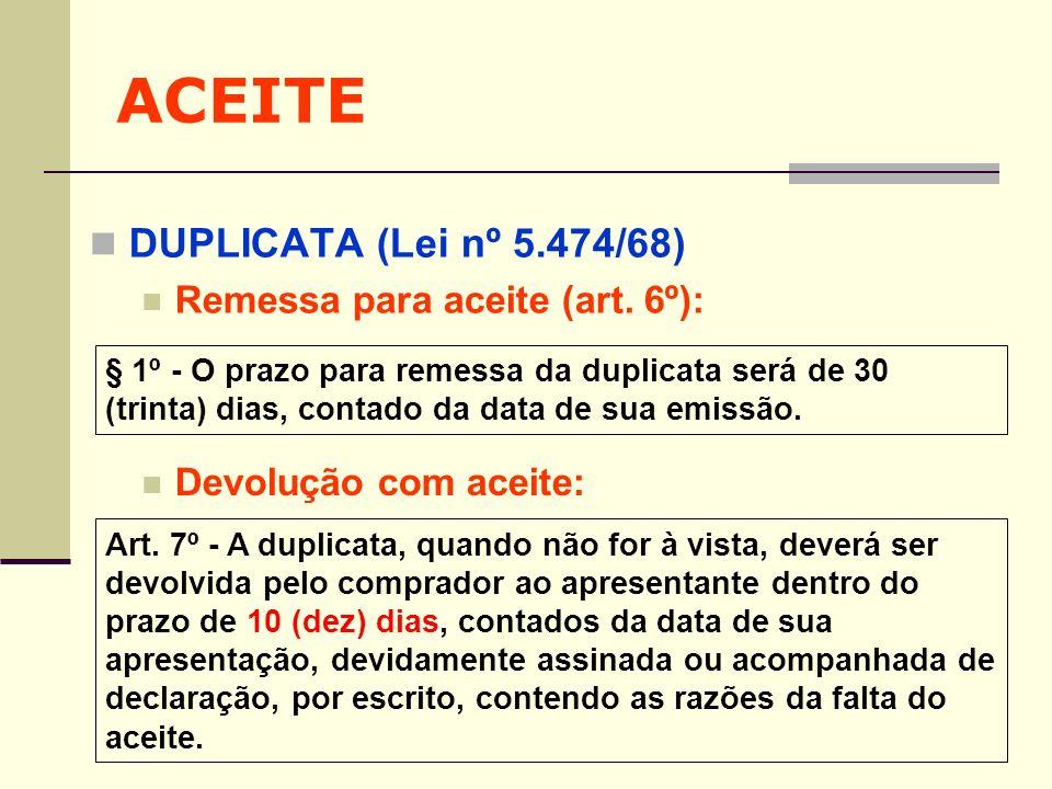 ACEITE DUPLICATA (Lei nº 5.474/68) Remessa para aceite (art. 6º): § 1º - O prazo para remessa da duplicata será de 30 (trinta) dias, contado da data d