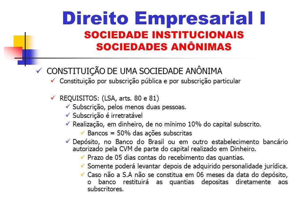 CONSTITUIÇÃO DE UMA SOCIEDADE ANÔNIMA CONSTITUIÇÃO DE UMA SOCIEDADE ANÔNIMA Constituição por subscrição pública e por subscrição particular Constituiç
