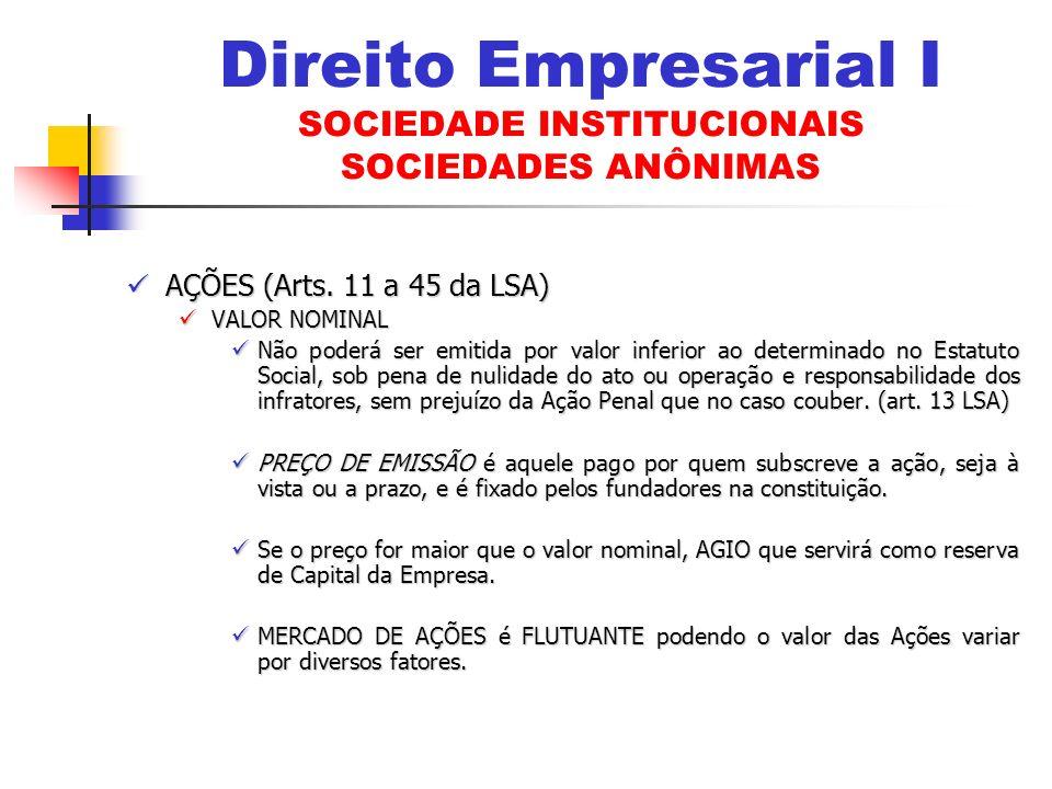 AÇÕES (Arts. 11 a 45 da LSA) AÇÕES (Arts. 11 a 45 da LSA) VALOR NOMINAL VALOR NOMINAL Não poderá ser emitida por valor inferior ao determinado no Esta