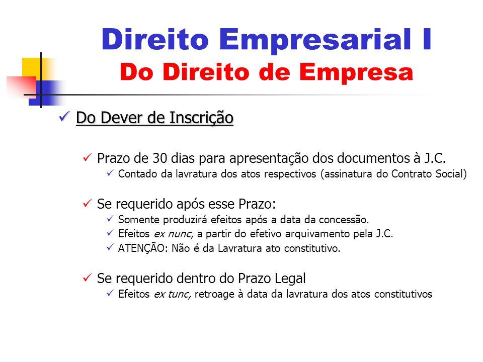 Do Dever de Inscrição Do Dever de Inscrição Prazo de 30 dias para apresentação dos documentos à J.C. Contado da lavratura dos atos respectivos (assina