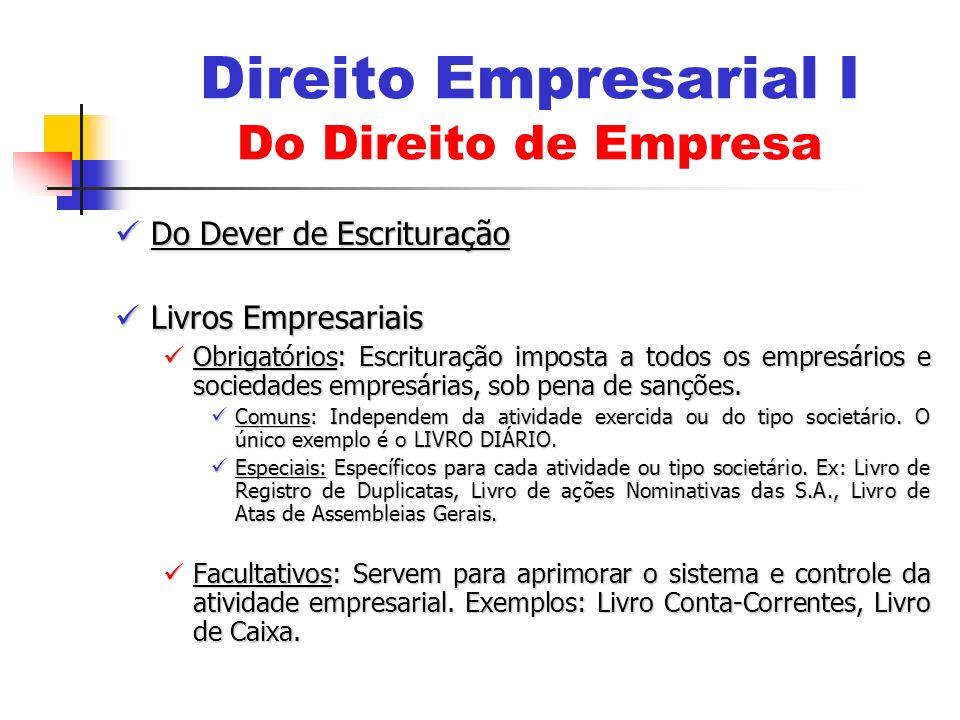 Do Dever de Escrituração Do Dever de Escrituração Livros Empresariais Livros Empresariais Obrigatórios: Escrituração imposta a todos os empresários e