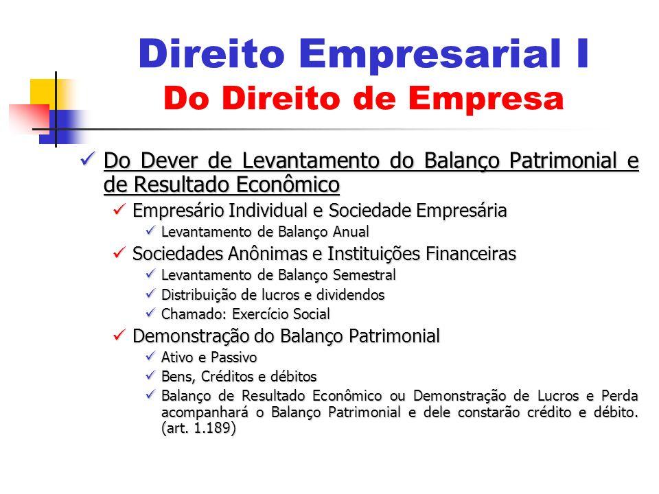 Do Dever de Levantamento do Balanço Patrimonial e de Resultado Econômico Do Dever de Levantamento do Balanço Patrimonial e de Resultado Econômico Empr
