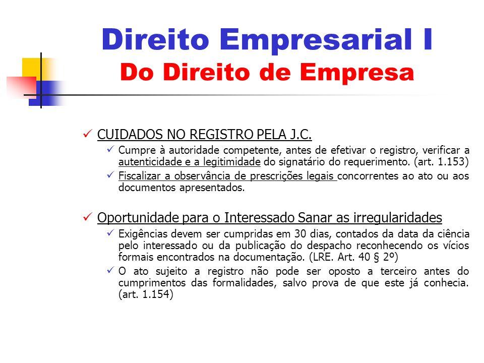 CUIDADOS NO REGISTRO PELA J.C.