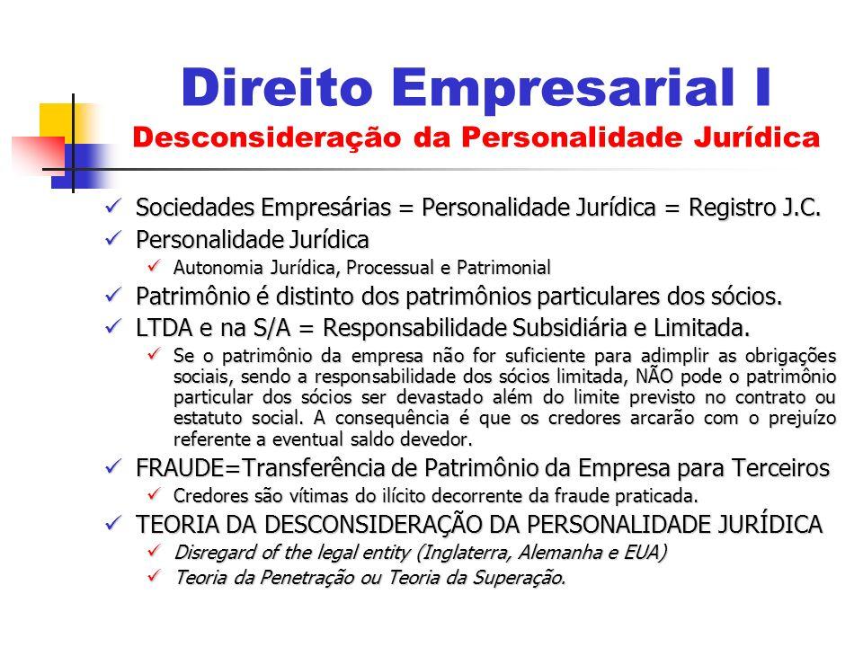 Sociedades Empresárias = Personalidade Jurídica = Registro J.C. Sociedades Empresárias = Personalidade Jurídica = Registro J.C. Personalidade Jurídica