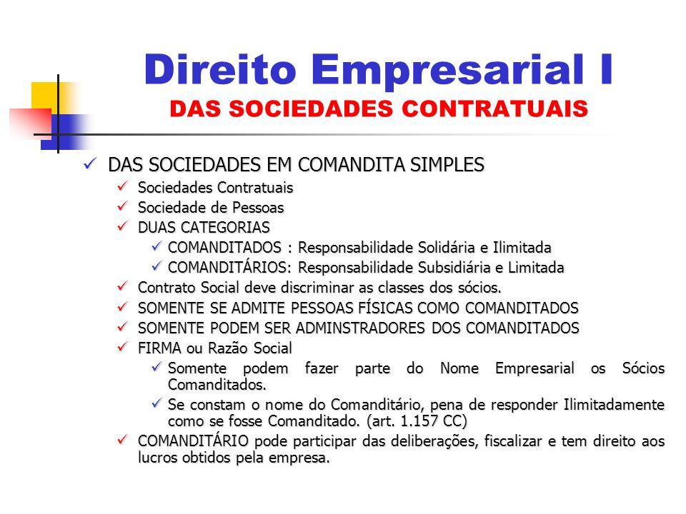 DAS SOCIEDADES EM COMANDITA SIMPLES DAS SOCIEDADES EM COMANDITA SIMPLES Sociedades Contratuais Sociedades Contratuais Sociedade de Pessoas Sociedade d
