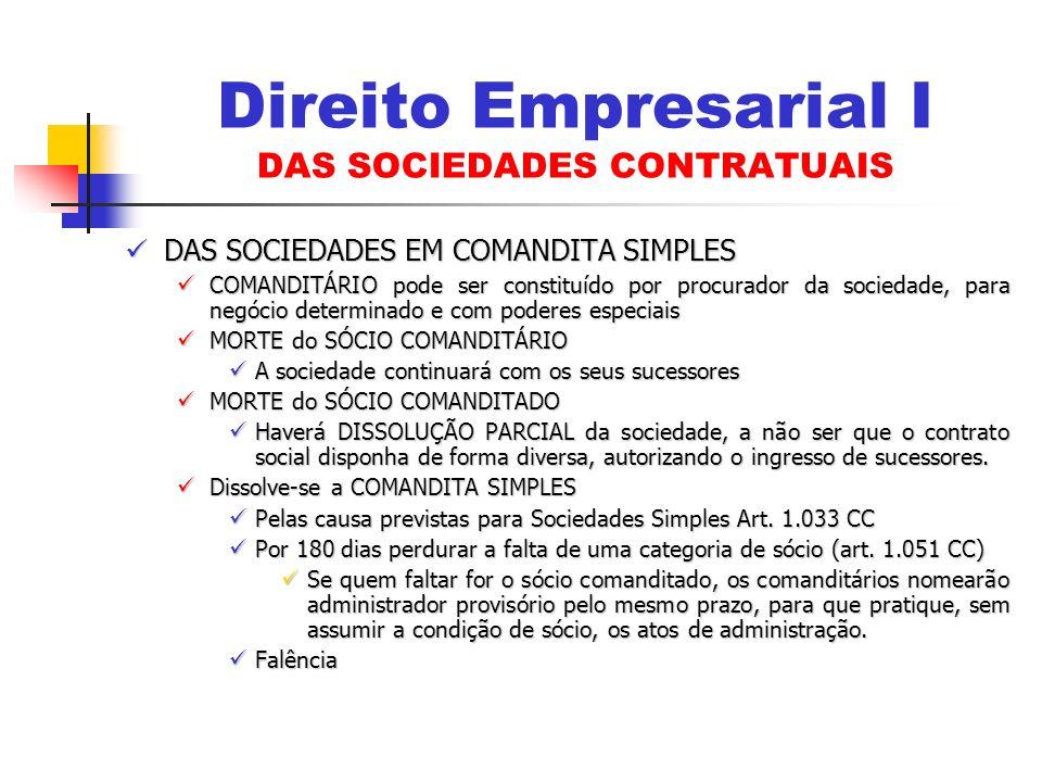 DAS SOCIEDADES EM COMANDITA SIMPLES DAS SOCIEDADES EM COMANDITA SIMPLES COMANDITÁRIO pode ser constituído por procurador da sociedade, para negócio de