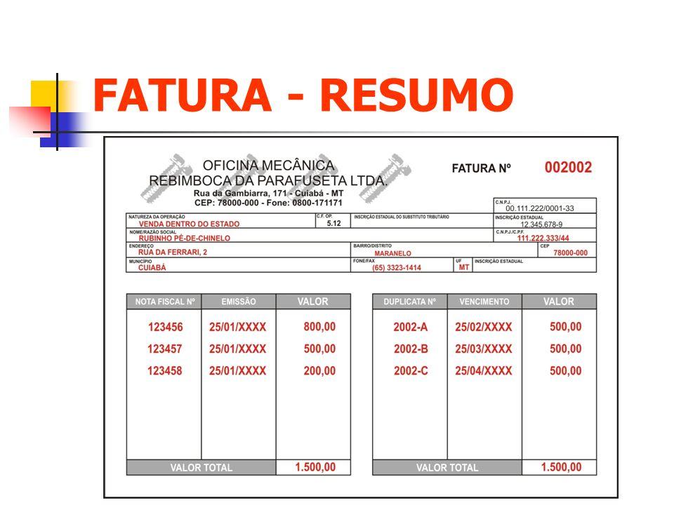 FATURA - RESUMO