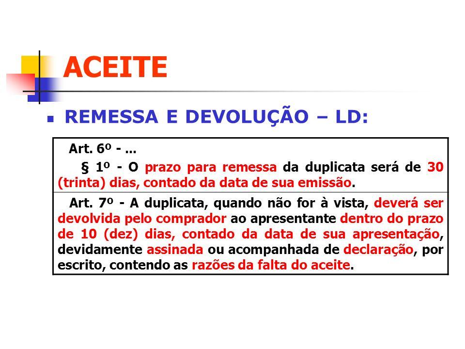 ACEITE REMESSA E DEVOLUÇÃO – LD: Art. 6º -... § 1º - O prazo para remessa da duplicata será de 30 (trinta) dias, contado da data de sua emissão. Art.