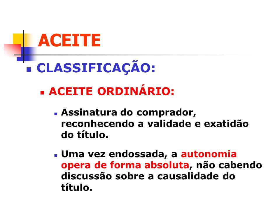 ACEITE CLASSIFICAÇÃO: ACEITE ORDINÁRIO: Assinatura do comprador, reconhecendo a validade e exatidão do título. Uma vez endossada, a autonomia opera de