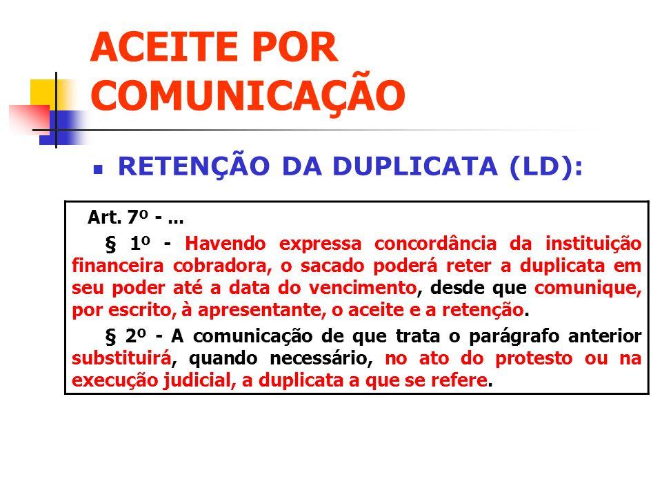 ACEITE POR COMUNICAÇÃO RETENÇÃO DA DUPLICATA (LD): Art. 7º -... § 1º - Havendo expressa concordância da instituição financeira cobradora, o sacado pod
