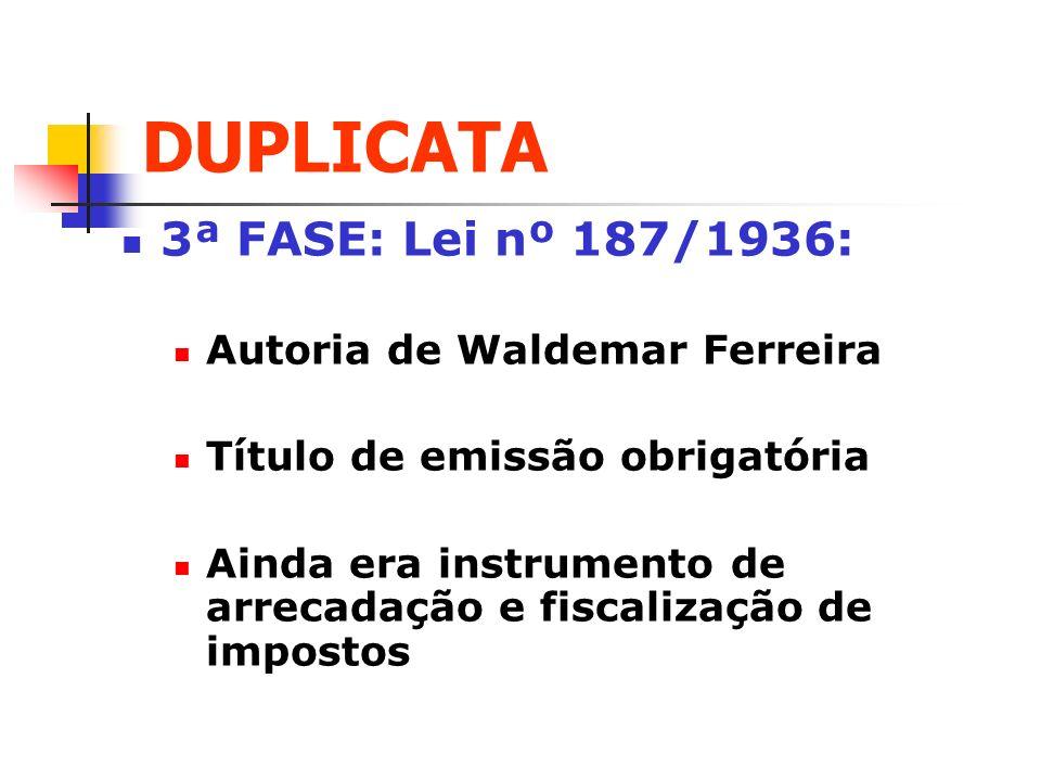 DUPLICATA 4ª FASE: Lei nº 5.474/1968: Código Tributário Nacional (1966): IVM foi substituído pelo ICM (hoje ICMS) Deixou de ser instrumento de arrecadação e fiscalização de impostos Título de emissão facultativa