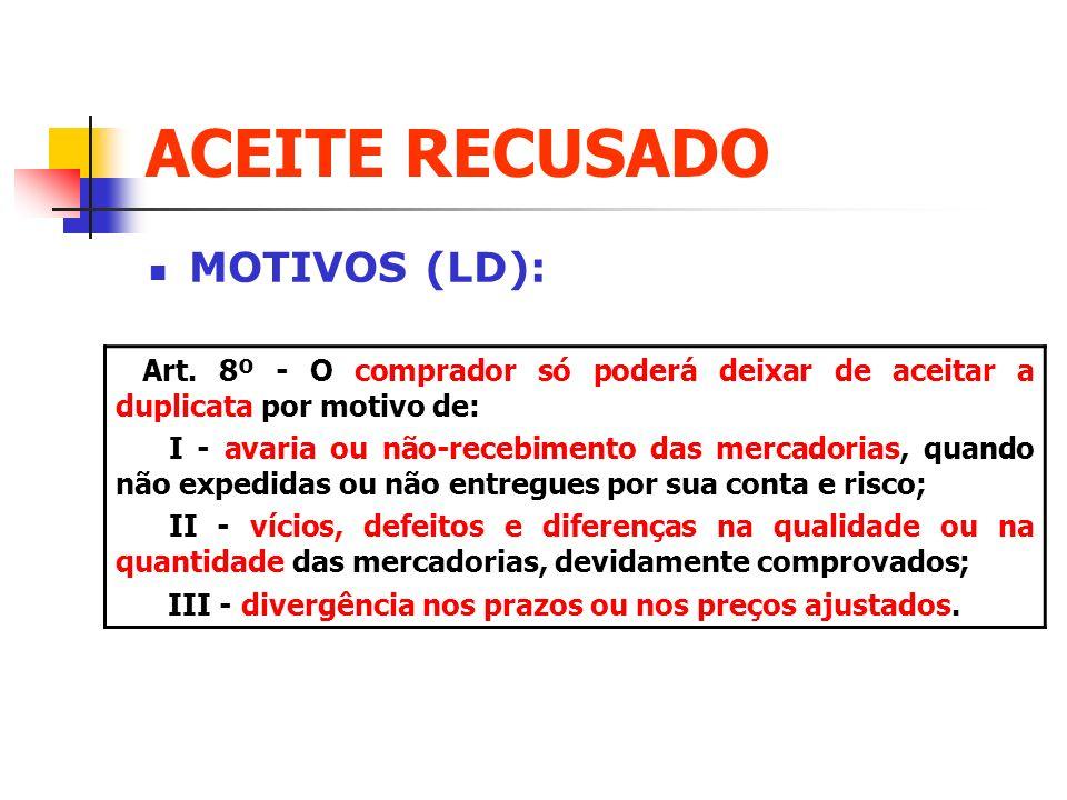 ACEITE RECUSADO MOTIVOS (LD): Art. 8º - O comprador só poderá deixar de aceitar a duplicata por motivo de: I - avaria ou não-recebimento das mercadori
