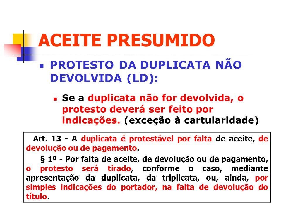 ACEITE PRESUMIDO PROTESTO DA DUPLICATA NÃO DEVOLVIDA (LD): Se a duplicata não for devolvida, o protesto deverá ser feito por indicações. (exceção à ca