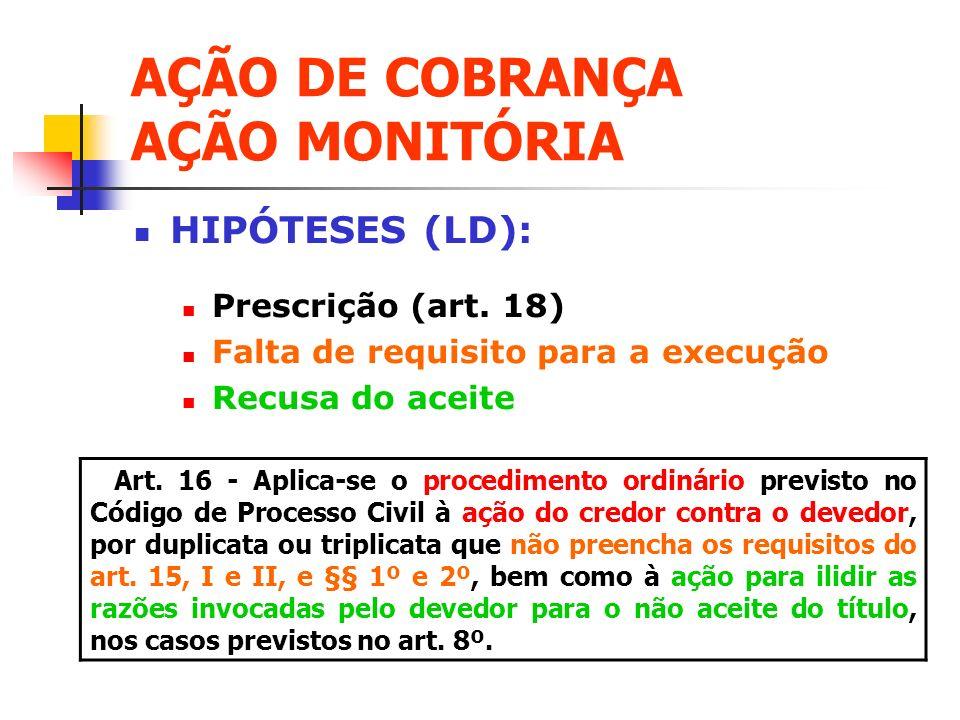 AÇÃO DE COBRANÇA AÇÃO MONITÓRIA HIPÓTESES (LD): Prescrição (art. 18) Falta de requisito para a execução Recusa do aceite Art. 16 - Aplica-se o procedi