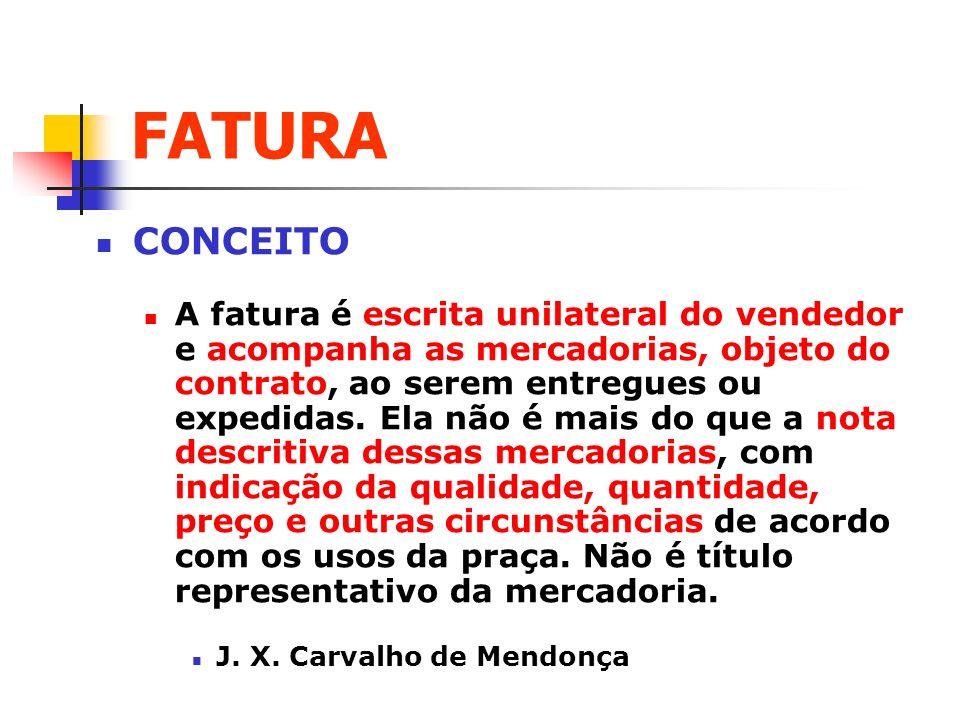 FATURA LEI DE DUPLICATAS: Art.
