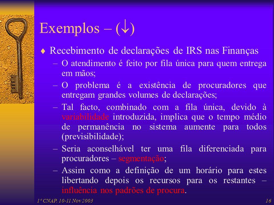 1º CNAP, 10-11 Nov 200316 Exemplos – ( ) Recebimento de declarações de IRS nas Finanças –O atendimento é feito por fila única para quem entrega em mão